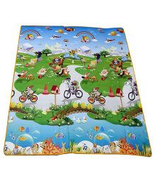 Ole Baby Waterproof Mat Double Sided Print Blue (Color & Design May Vary)