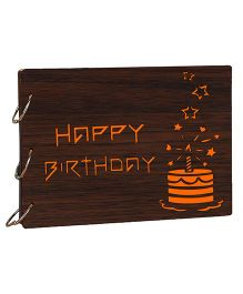 Studio Shubham Happy Birthday Wooden Scrap Book - Dark Brown