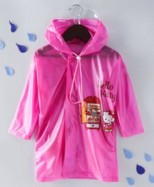 Babyhug Full Sleeves Hooded Raincoat Hello Kitty Print - Pink