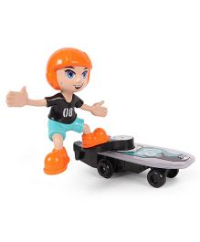 Dr. Toy Cartoon Stunt Skateboard Boy Model With Light & Music - Multicolor