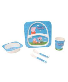 Peppa Pig Printed Feeding Set Pack of 5 - Red Off White