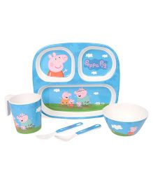 Peppa Pig Printed Feeding Set Pack of 5 - Blue