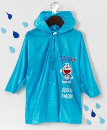 Babyhug Full Sleeves Hooded Raincoat Doraemon Print - Blue