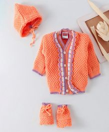 Babyhug Full Sleeves Sweater With Cap & Booties - Peach