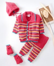 Babyhug Full Sleeves Sweater Bottoms With Cap And Booties - Pink