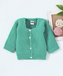 Babyhug Full Sleeves Front Open Sweater - Green
