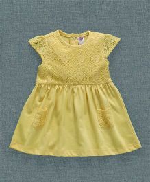 Zero Cap Sleeves Frock Lace Embroidered  - Yellow