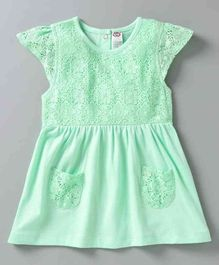 Zero Cap Sleeves Frock Lace Embroidered  - Green