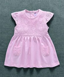 Zero Cap Sleeves Frock Lace Embroidered - Pink