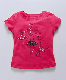 Doreme Short Sleeves Top Giraffe Print - Pink