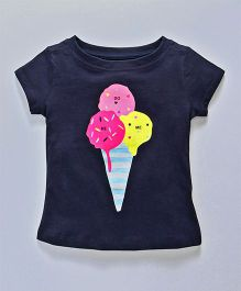 Doreme Short Sleeves Top Ice Cream Print - Navy