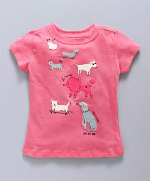 Doreme Half Sleeves Top With Puppy Print - Cherry Pink