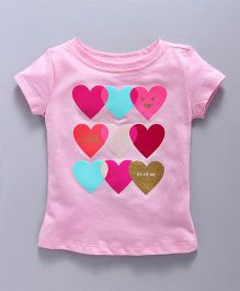 Doreme Half Sleeves Top With Heart Print - Light Pink