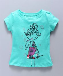 Doreme Short Sleeves Top Girl Print - Aqua Blue