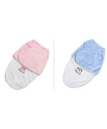 Babymoon Organic Cotton Swaddle Wrappers Pack of 2  - Pink Blue