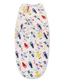 Babymoon Organic 100% Cotton Swaddle Wrapper Aeroplane Print - Multicolour