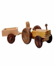Desi Karigar Wooden Tractor Trolley Moving Toy - Yellow Brown