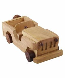 Desi Karigar Wooden Classical Vintage Open Car Jeep Toy - Yellow
