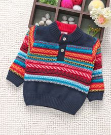 Babyhug Full Sleeves Pullover Sweater - Blue