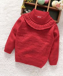 Babyhug Full Sleeves Pullover Sweater Frill Pattern - Red