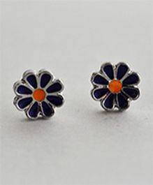 Bobbles & Scallops Flower Stud Earring - Blue