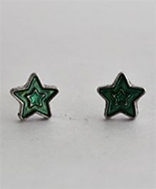 Bobbles & Scallops Star Stud Earring - Green