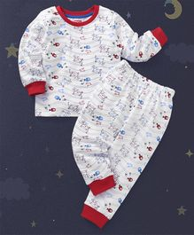 Babyhug Full Sleeves Night Suit Dive Print - Red