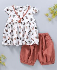 Baby Kids Floral Dress With Bloomer - White & Brown
