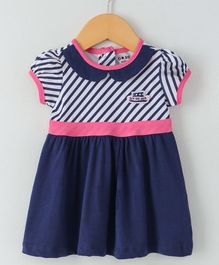 Doreme Short Sleeves Striped Frock - Navy