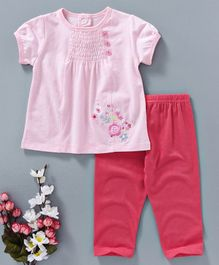 Baby Kids Embroidered Top & Legging Set - Pink