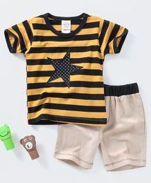 Baby Kids Striped Tee & Shorts Set - Yellow & Beige