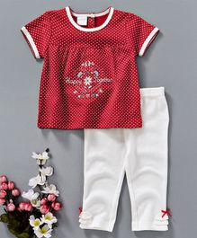 Baby Kids Happy Together Embroidered Top & Legging Set - Red & White