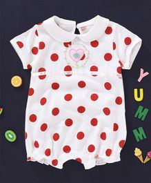 Baby Kids Polka Dots Printed Collared Romper - White