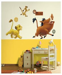 Asian Paints Lion King Timon & Pumba Wall Sticker - Yellow Brown