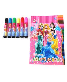 Funcart Disney Princess Themed Colouring Book With Sketch Pens - English