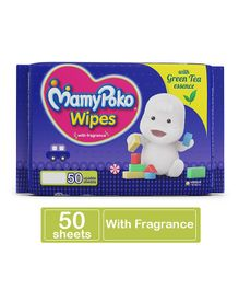 MamyPoko Wipes With Green Tea Essence - 50 Sheets