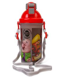 Motu Patlu Sipper Water Bottle With Push Button Top Red - 500 ml