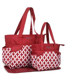 Diaper Bag Set With Changing Mat Bubble Print - Maroon