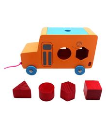 Skola Toys Wooden Pull Along Shape Bus - Multicolour