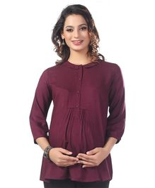 Kriti Three Fourth Sleeves Solid Maternity Nursing Top  - Wine