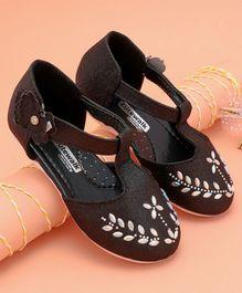 7ff438b21 Cute Walk by Babyhug Party Wear Belly Shoes Studded Floral Design - Black