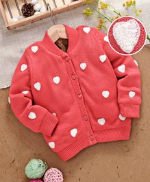 Yellow Apple Full Sleeves Sweater Heart Embroidery - Pink