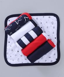 Babyoye Printed Wash Cloths Pack of 6 - Navy Blue Red