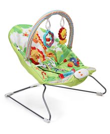 Baby Musical Bouncer Animal Design - Blue & Multicolour