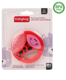 Babyhug Bug Multi Textured Teether With Mild Rattle - Red