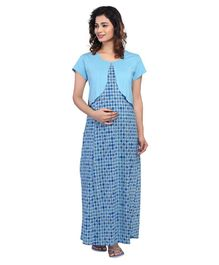 Kriti Half Sleeves Maternity & Nursing Nighty Floral Print - Blue