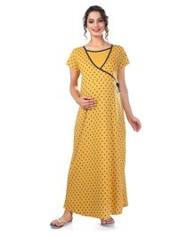 Kriti Short Sleeves Maternity Nursing Nighty Stars Print - Mustard Yellow 84d9d6f9c7a3