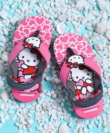 Cute Walk by Babyhug Flip Flops With Back Strap Hello Kitty Patch - Pink