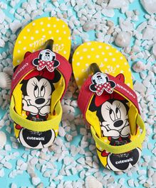 Cute Walk by Babyhug Flip Flops With Back Strap Minnie Mouse Patch - Yellow