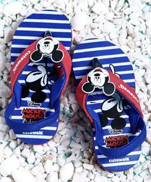 Cute Walk by Babyhug Flip Flops Mickey Mouse Patch - Blue